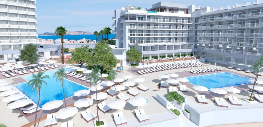 Render of hotel's pool areas