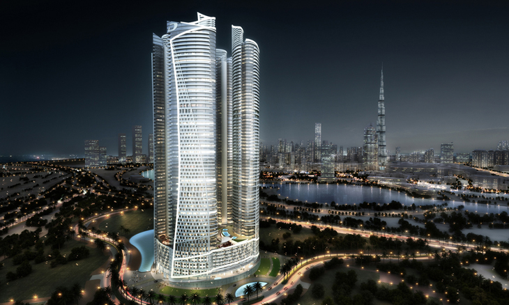 Render of the four-tower building in Dubai