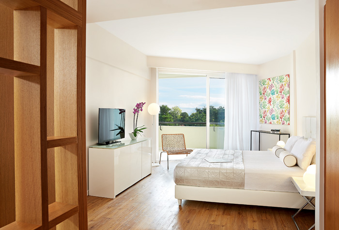 Light woods feature in one of the modern guestrooms