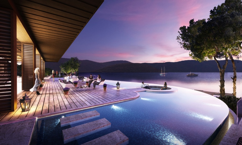 Render of a pool and bar area outside