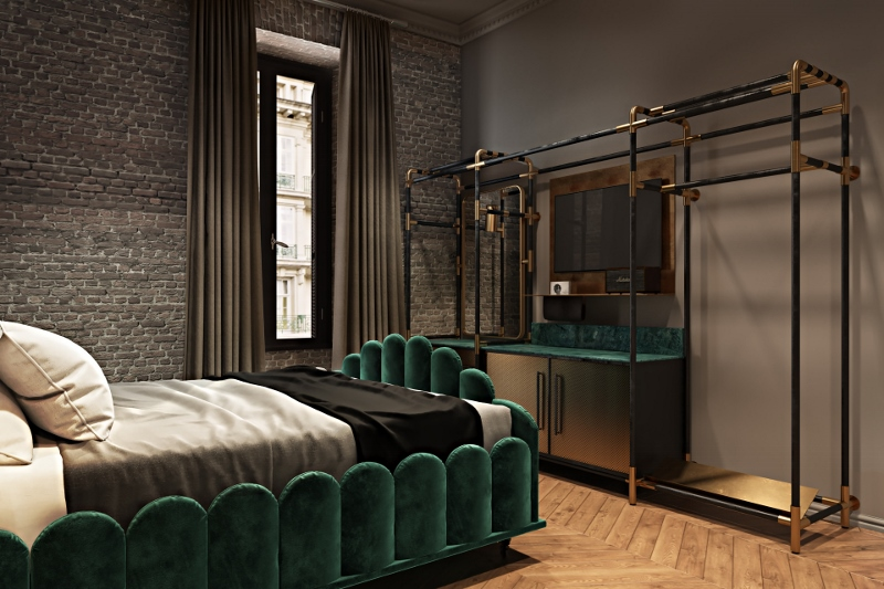 Green bed and wooden flooring