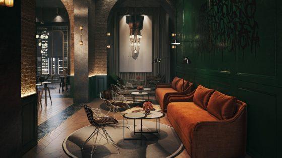 Lobby area - dark interiors