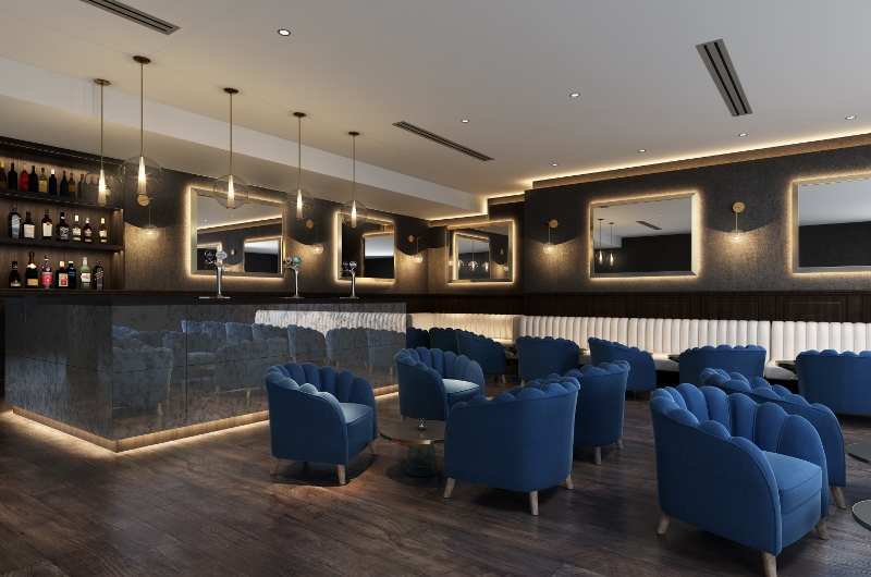 Modern bar that features Coupe furniture from knightsbridge