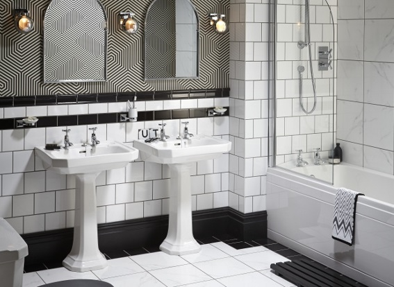 Layered tiles in the bathroom