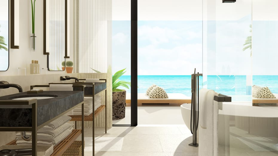Bathroom in a suite that overlooks the ocean