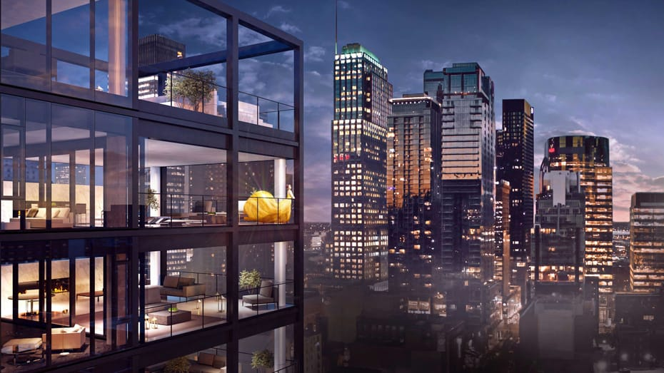 Render of the guestrooms overlooking the skyline