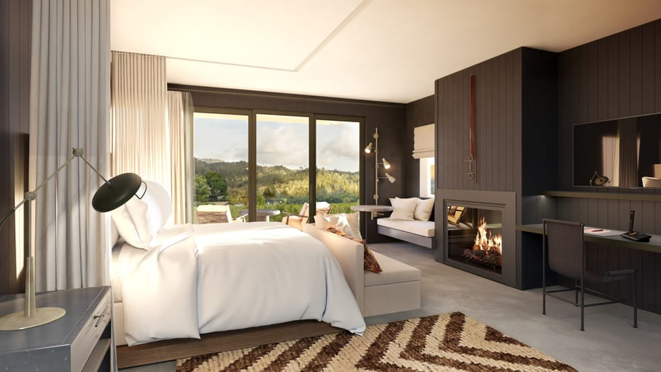 Render of the guestrooms which feature dark dues in the interiors