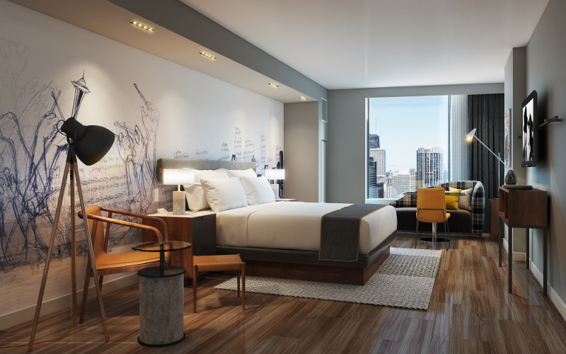 Modern guestroom in hotel