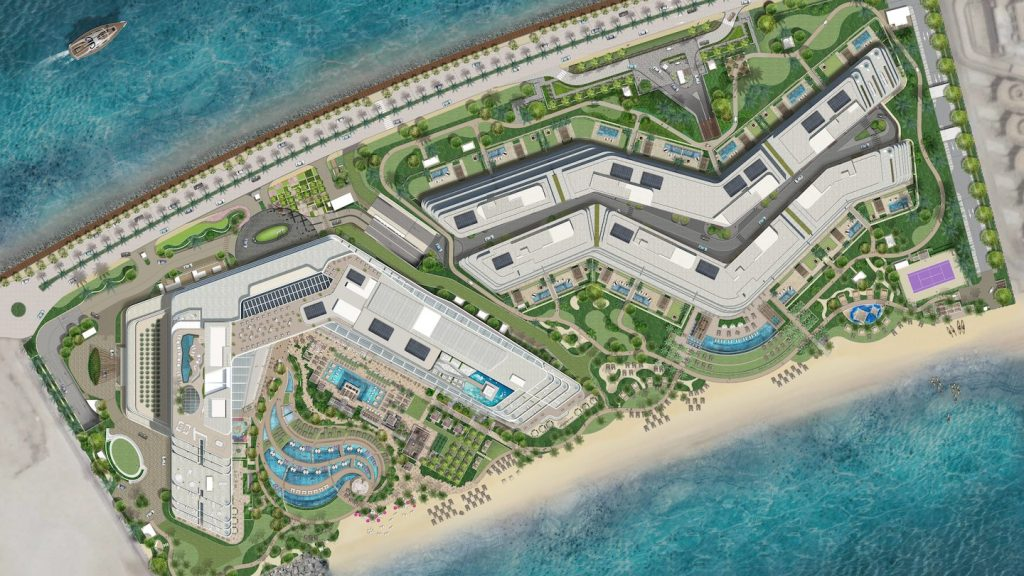 Arial perspective of a render of the W Dubai - The Palm site