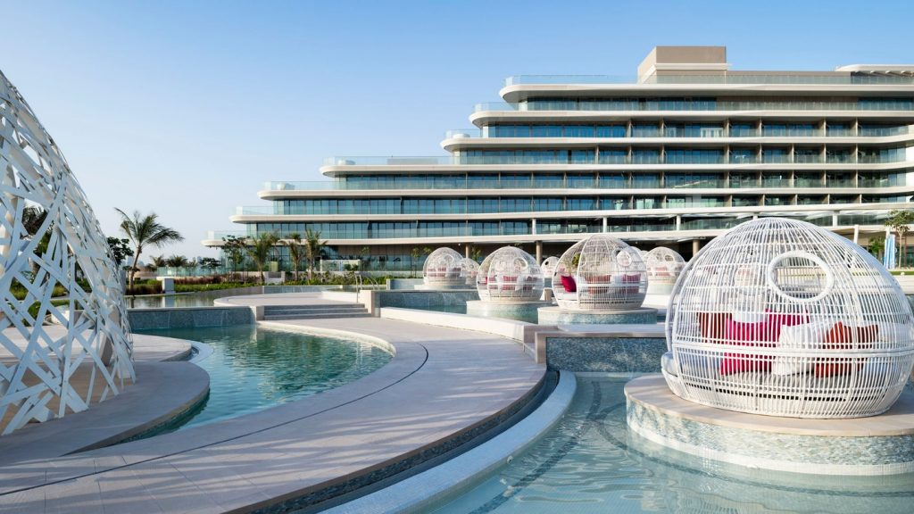 View of the pool and exterior of the building in Dubai