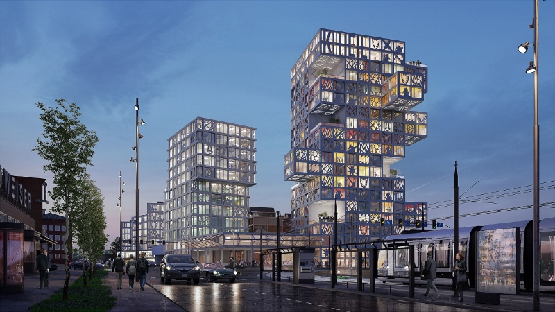 Render of the complex which depicts the two high-rise buildings