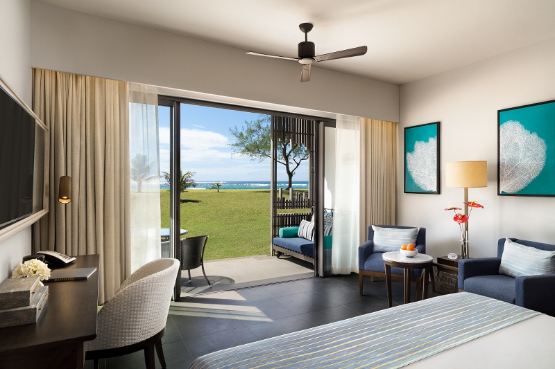modern guestroom overlooking the beach