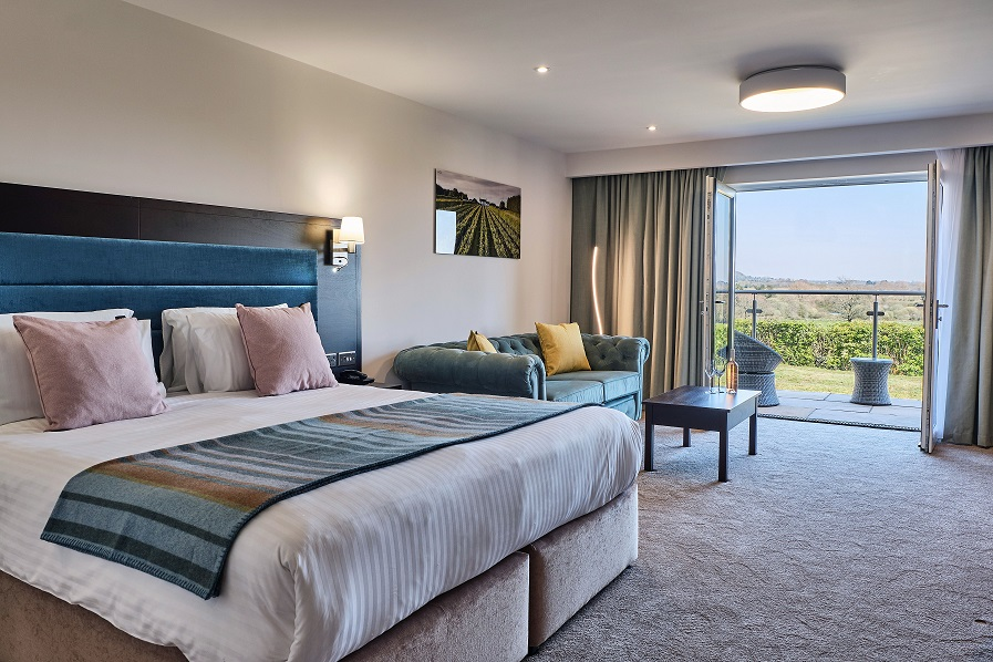 Large, modern guestroom which overlooks green vineyards