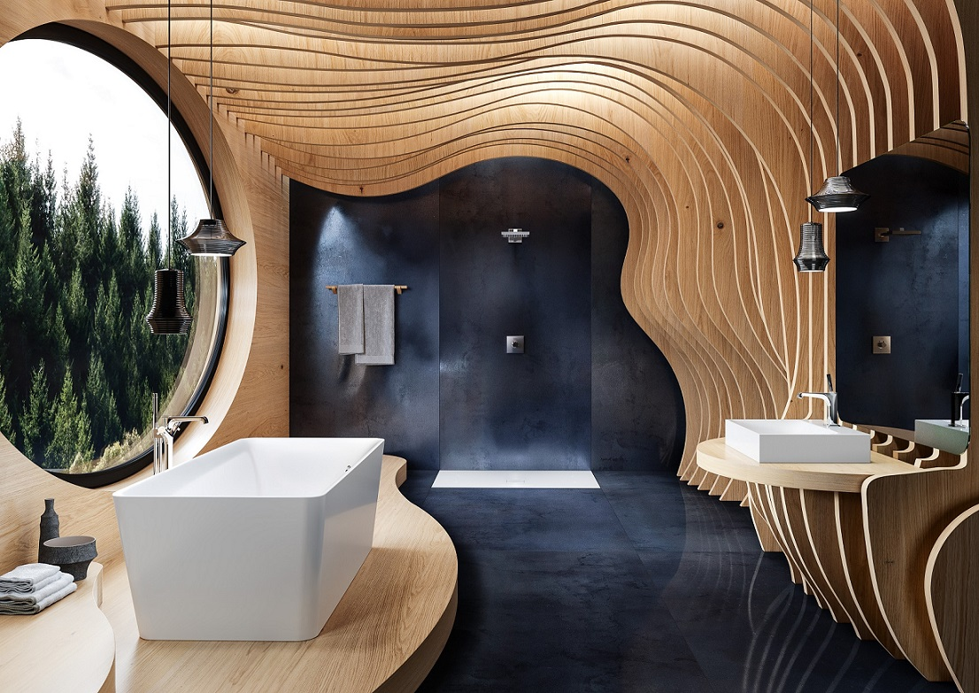 Modern bathroom in a shell of wooden structures
