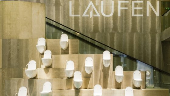 Water fountains made up by Laufen toilets