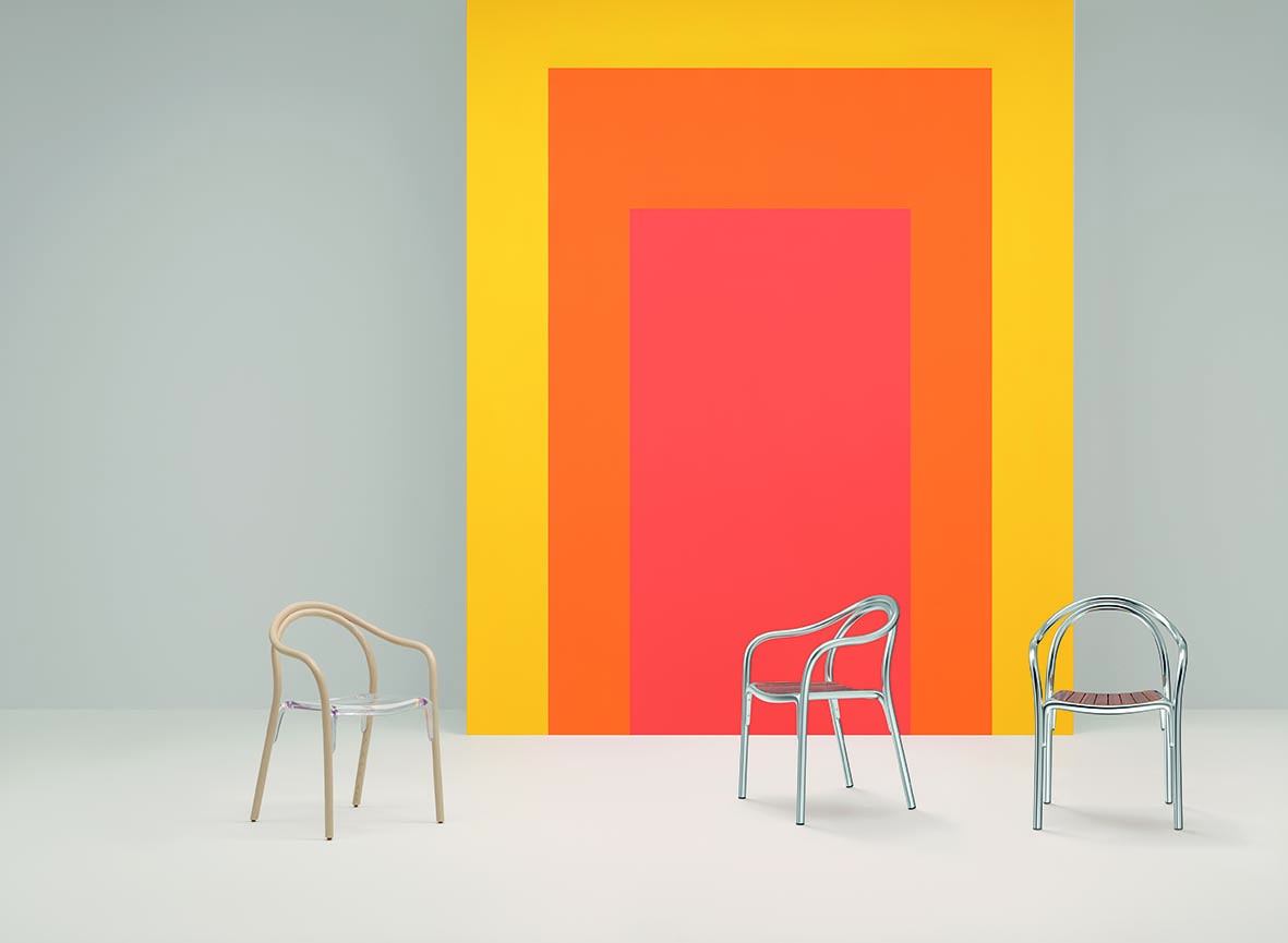 Colourful scene with chairs