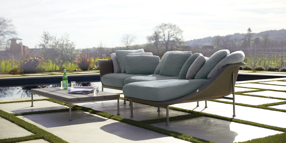 Sleek designed outdoor furniture on patio