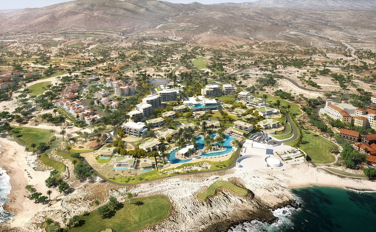Render of aerial perspective of hotel show of