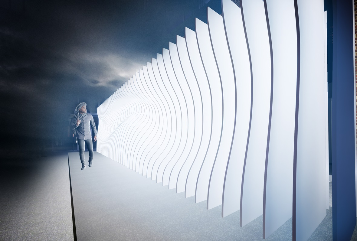 Man walking past light-like installation