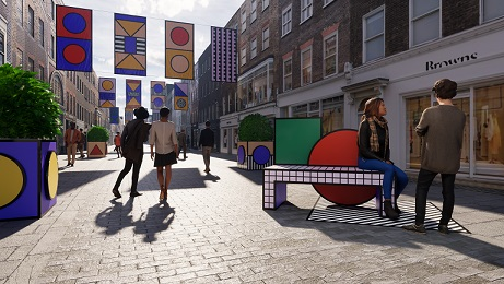london street with installation and colour