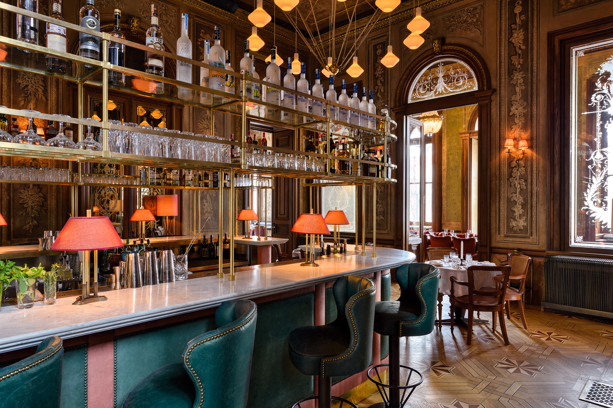 Refined interiors in a modern bar that is sheltered in a heritage building with bold lighting