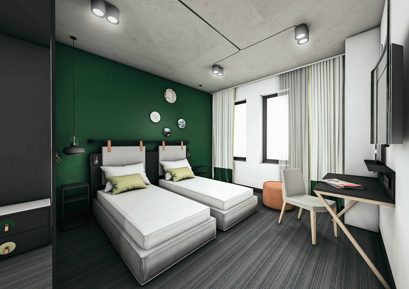Rendering of modern guestroom with dark-green wallcoverings and twin beds