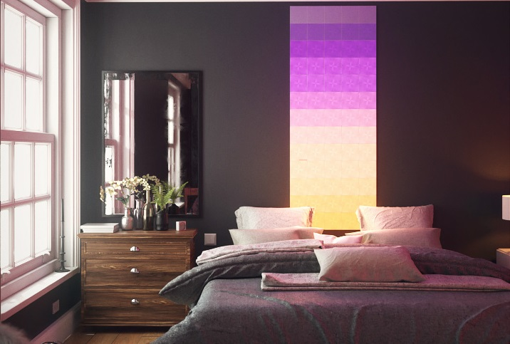 Plush guestroom with neon pink tiles on wall
