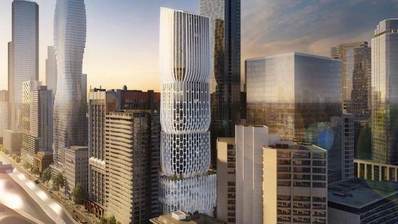 Render of the Melbourne skyline including the new ZHA designed hotel