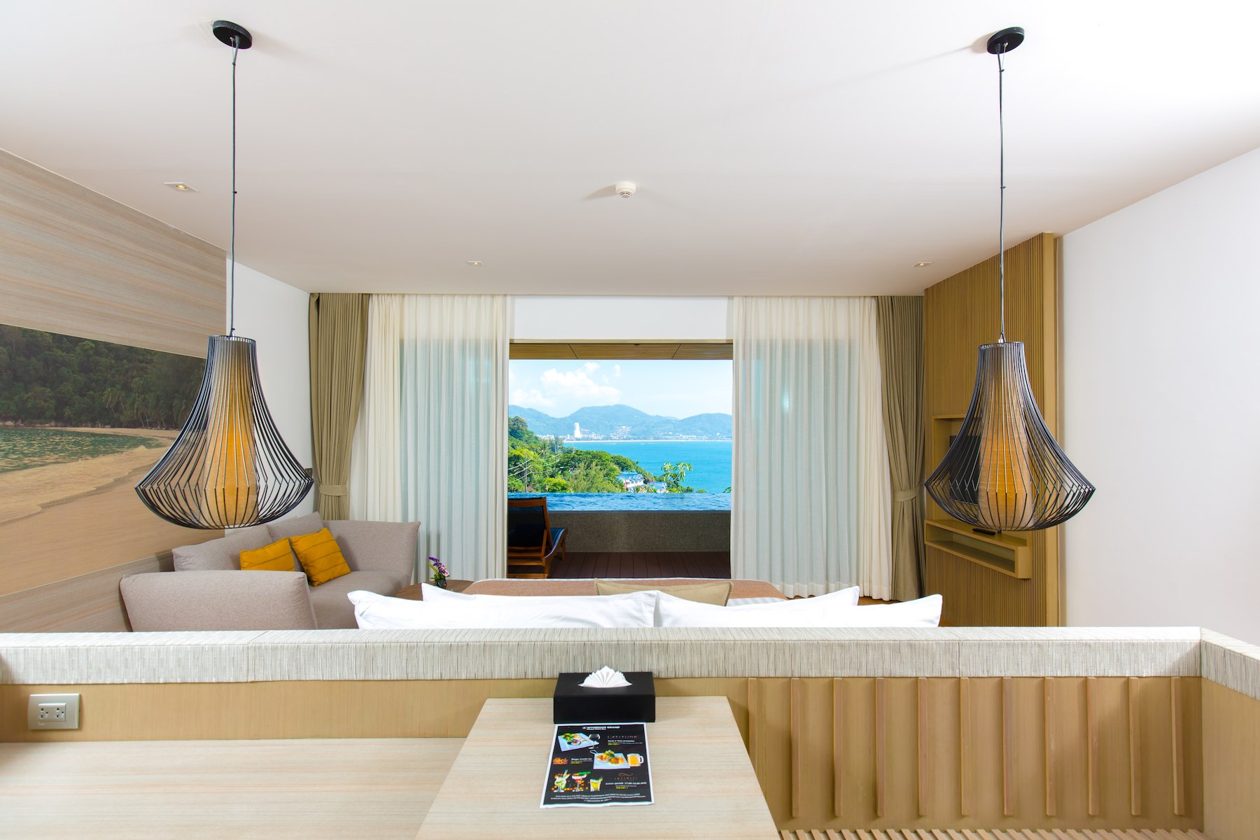 Light and bright guest room with impressive views over the bay