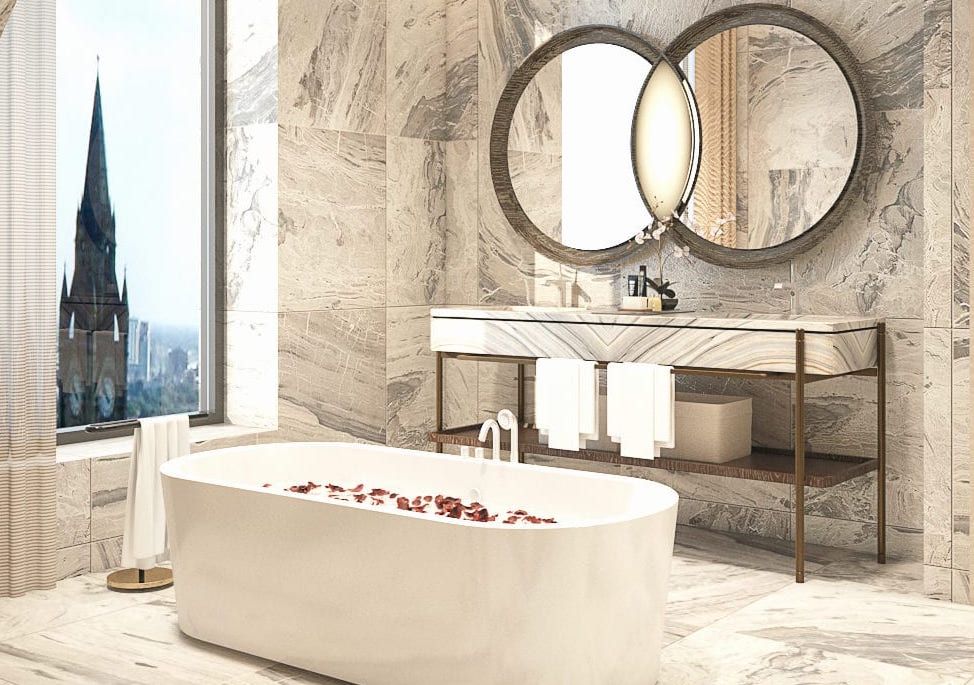 Render of luxury bathroom with marble surfaces and overlooking Manchester