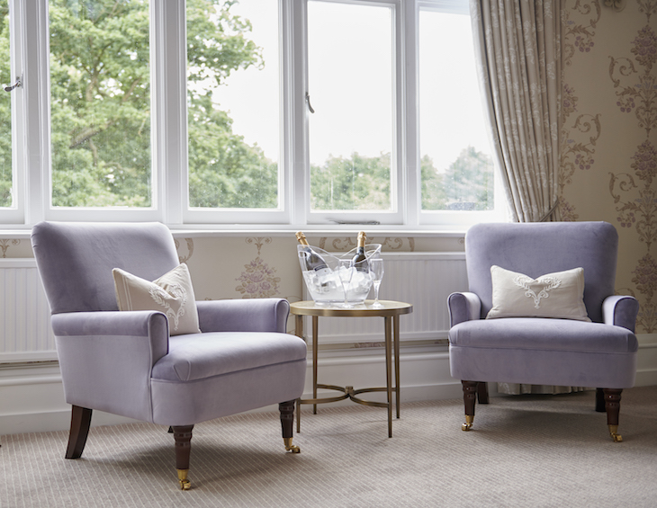 Violet armchairs by the window