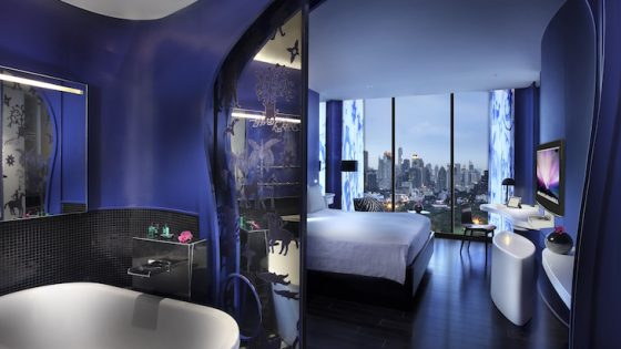 dark and sulty tones in one of the hotel's design-led suites