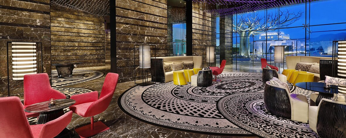 Bold design with Arabian themed interiors in the lobby lounge