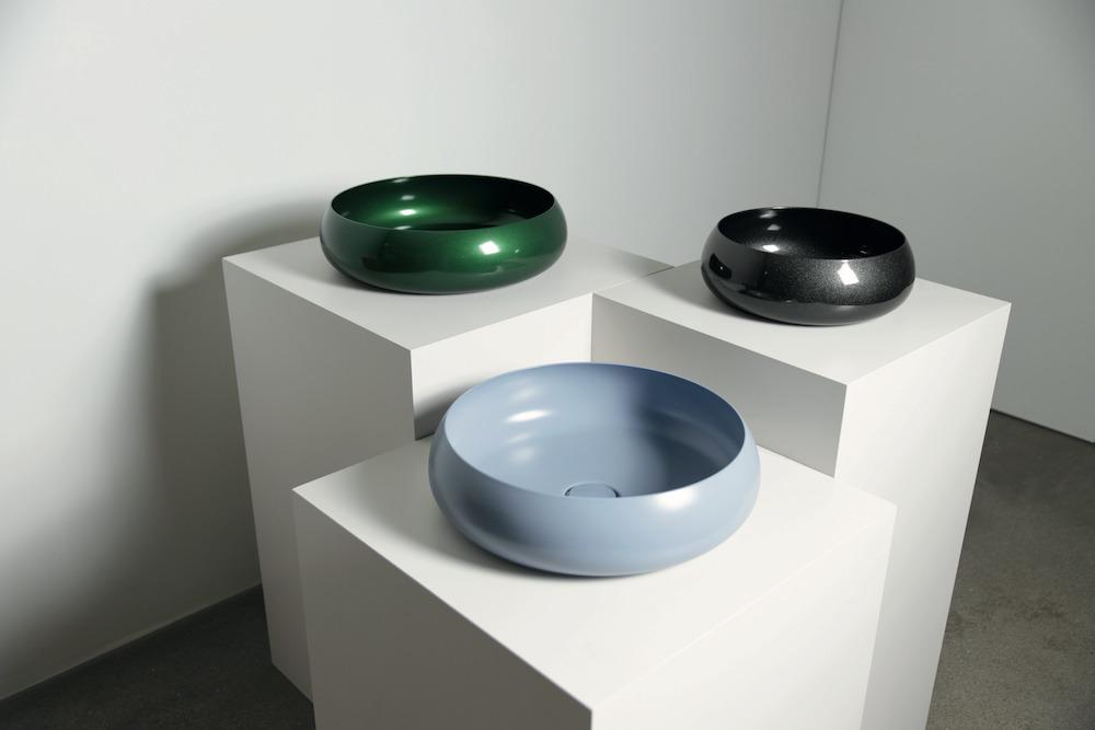 Muted coloured washbasins