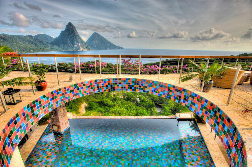 Image of Jade Mountain and the Pitons