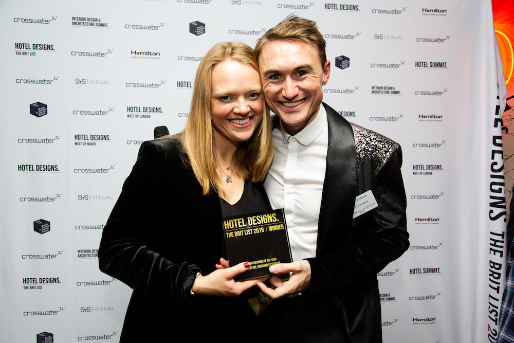 Image caption: Interior Designer of the Year, Goddard Litterfair's Jo Littlefair with editor Hamish Kilburn at The Brit List Awards 2020