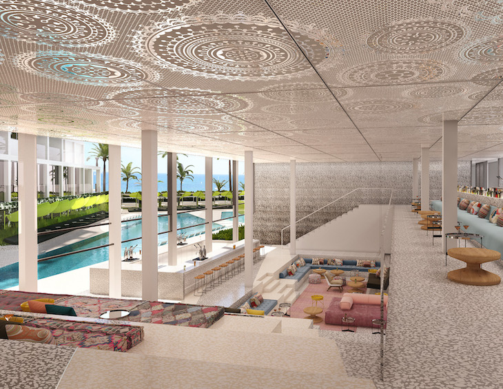 render of open-planned lobby/lounge area in hotel overlooking the pool and the sea