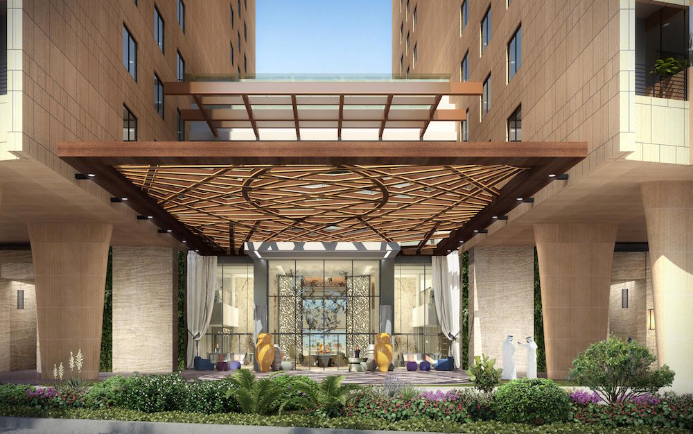Render of welcoming entrance to the hotel.