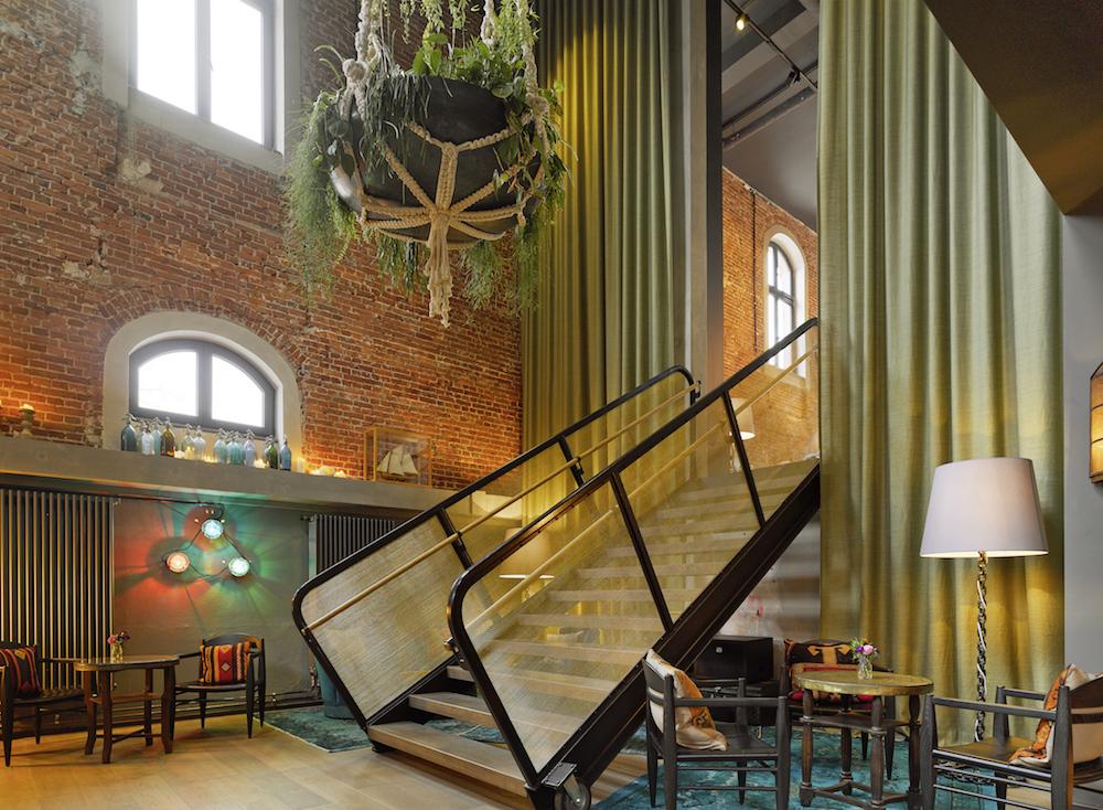 Striking living basket and industrial interiors below