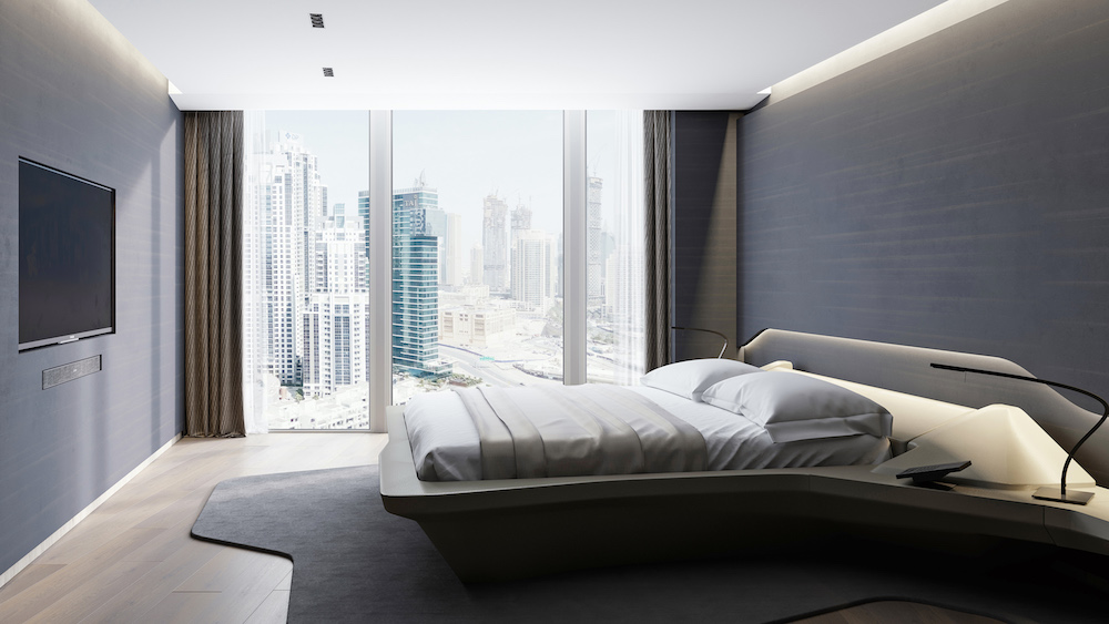 Render of very modern and sleek bedroom