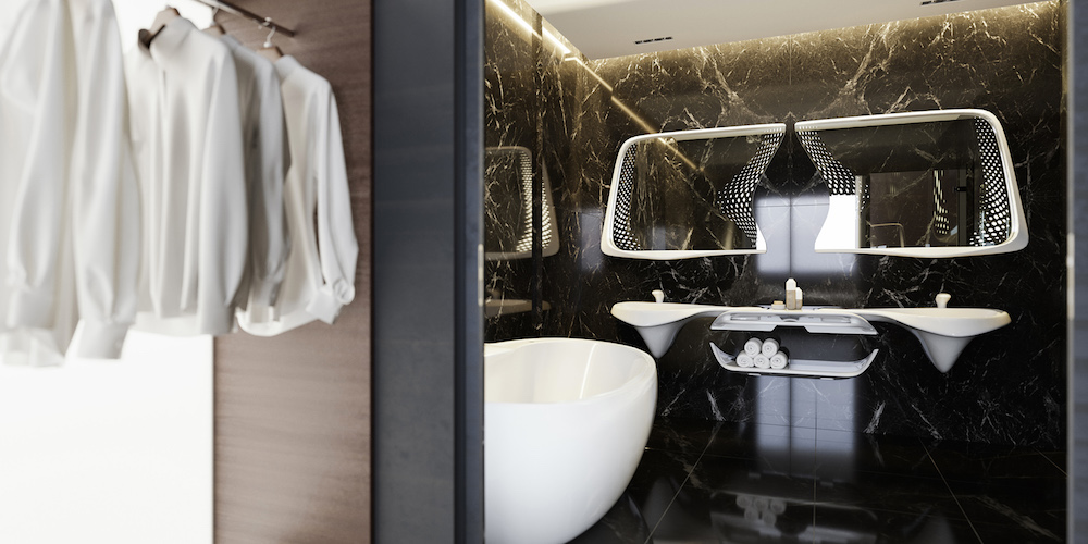 Very contemporary black bathroom with contemporary mirror and shirts handing up