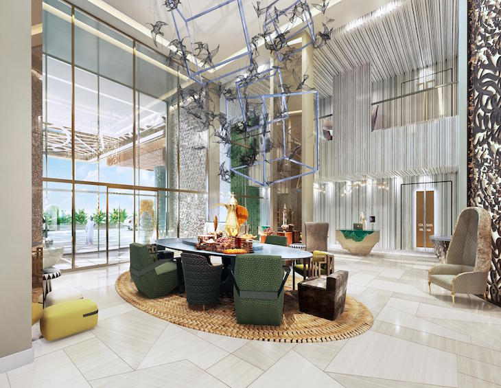 render of open and large lobby with accents of green and gold