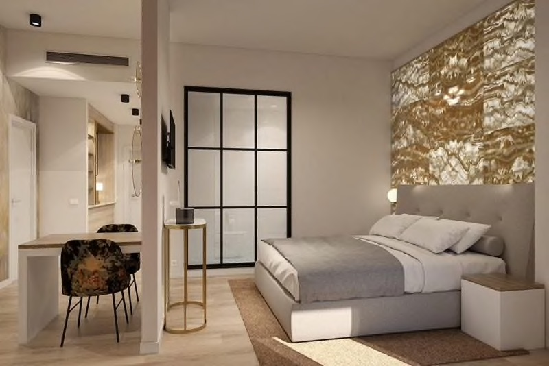 Render of gold and modern guest room with gold headboard and light grey bedding