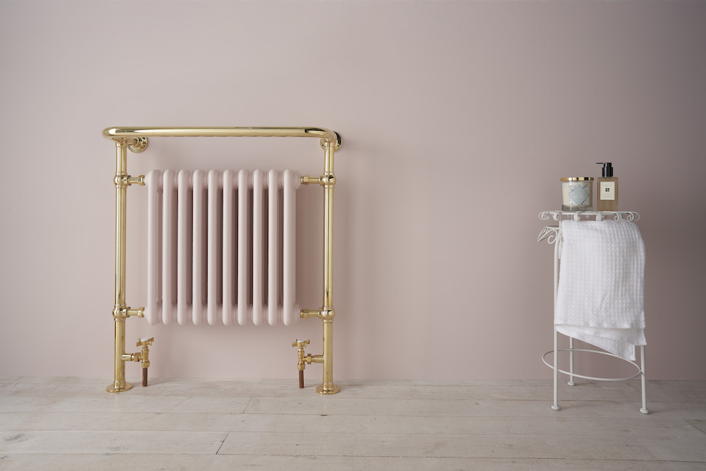 Soft pink radiator and amenities
