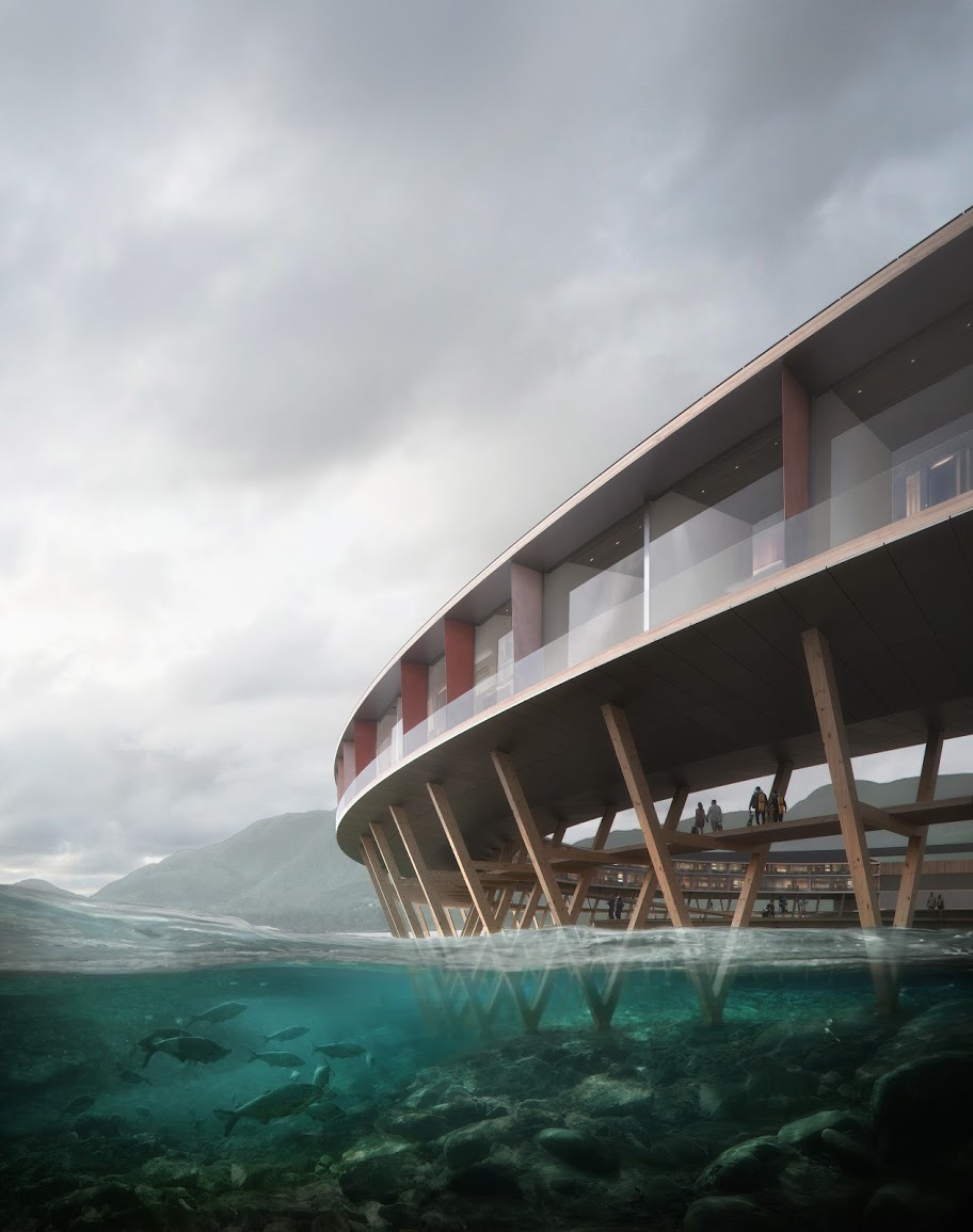 render of side of structure on stilts in the water