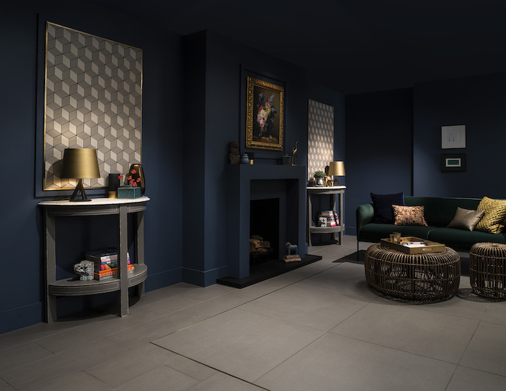 Dark, moody interiors with modern Parkside tiles on the walls