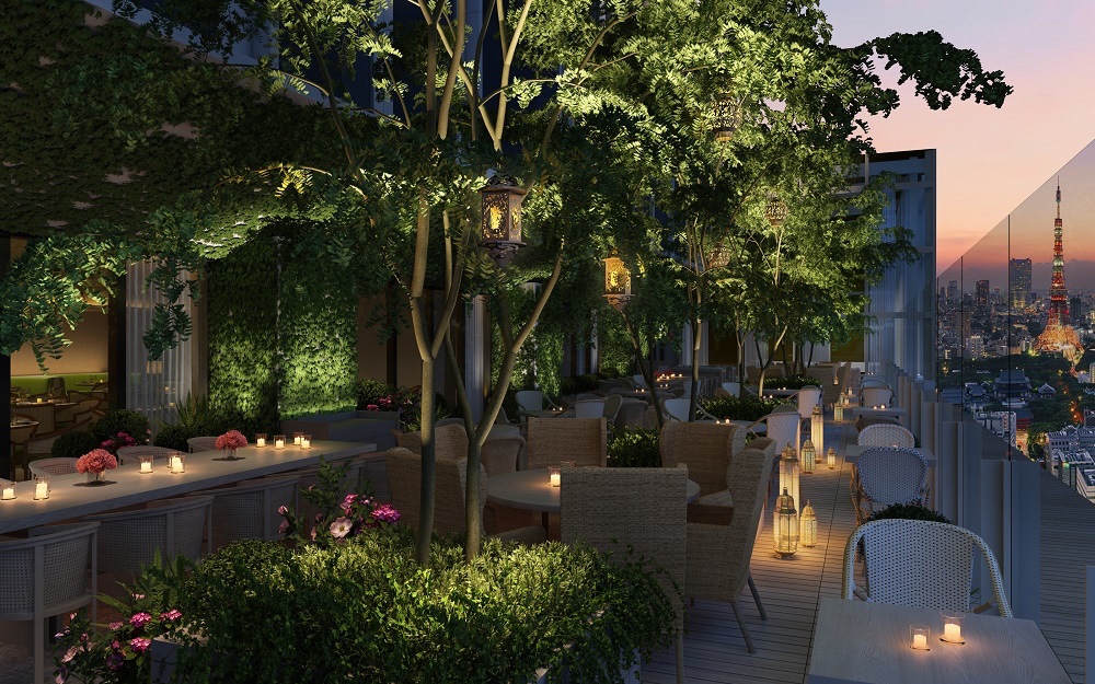 Render of rooftop garden in restaurant area in hotel