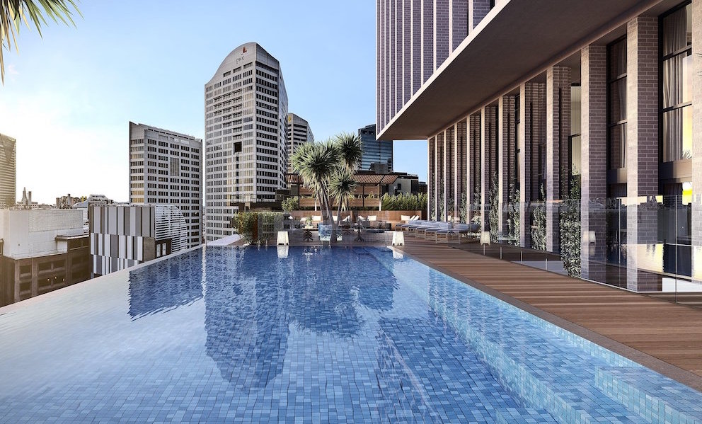 Render of infinity pool over the edge of the building, overlooking the skyline of Sydney