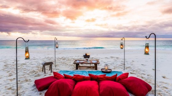 make-shift picnic with red cushions on the beach overlook undisturbed ocean