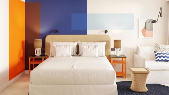 colourful, modern guest room